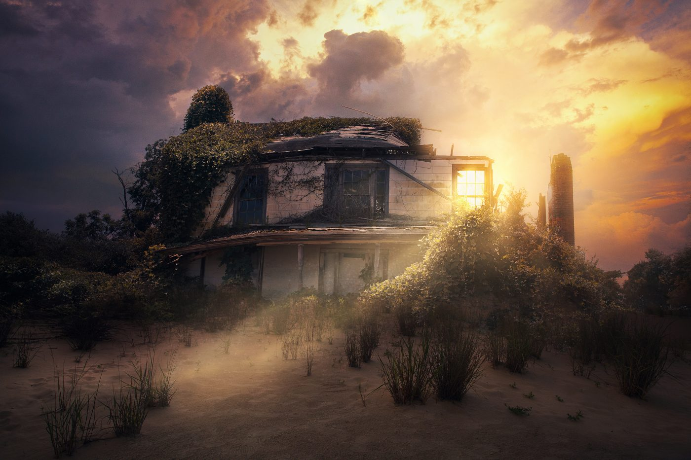 Old destroyed house with the sunlight shining through the window