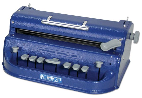 A Perkins Braille writer