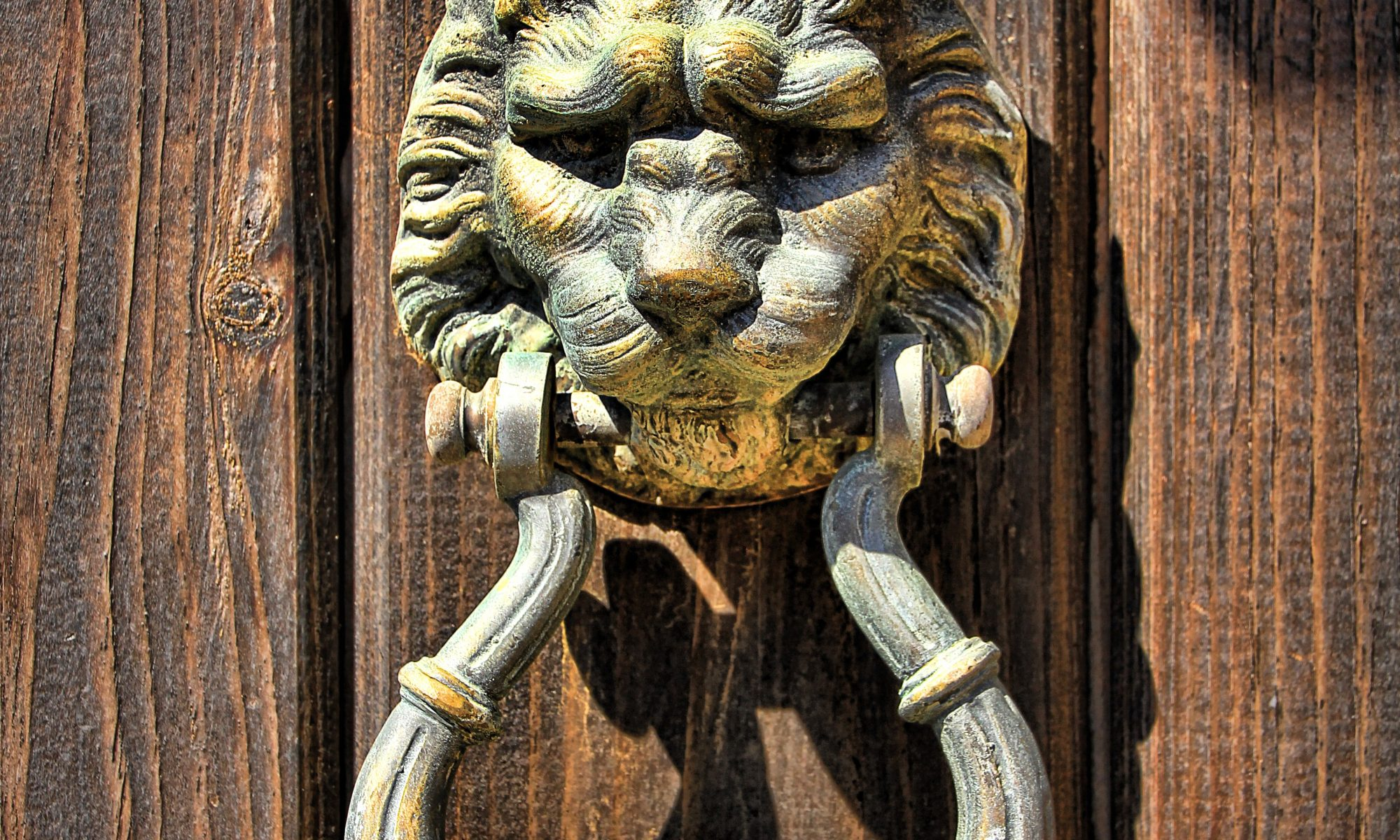 Lion head gold door knocker