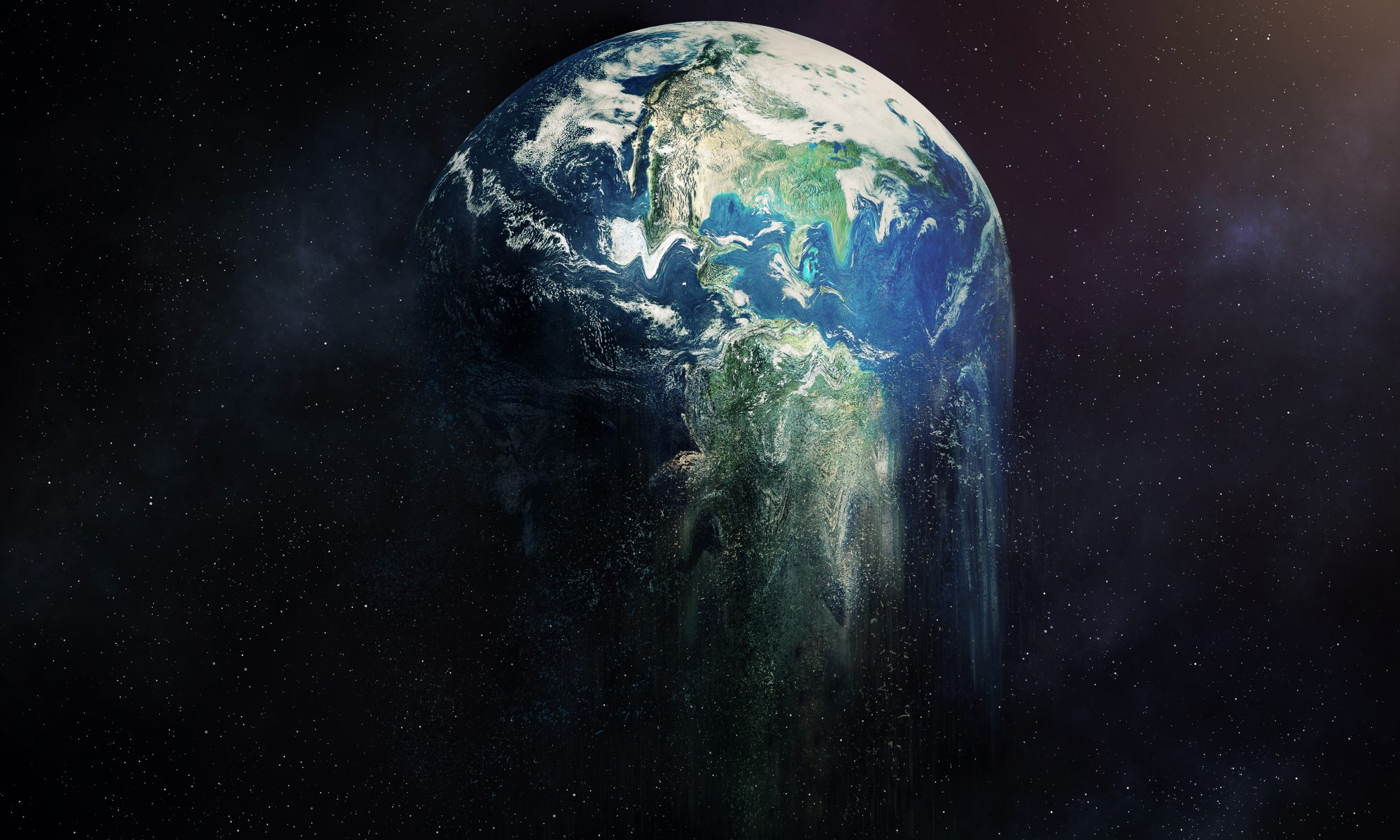 The earth surrounded by stars while falling apart