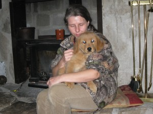Jen and Spooky at the fireplace.