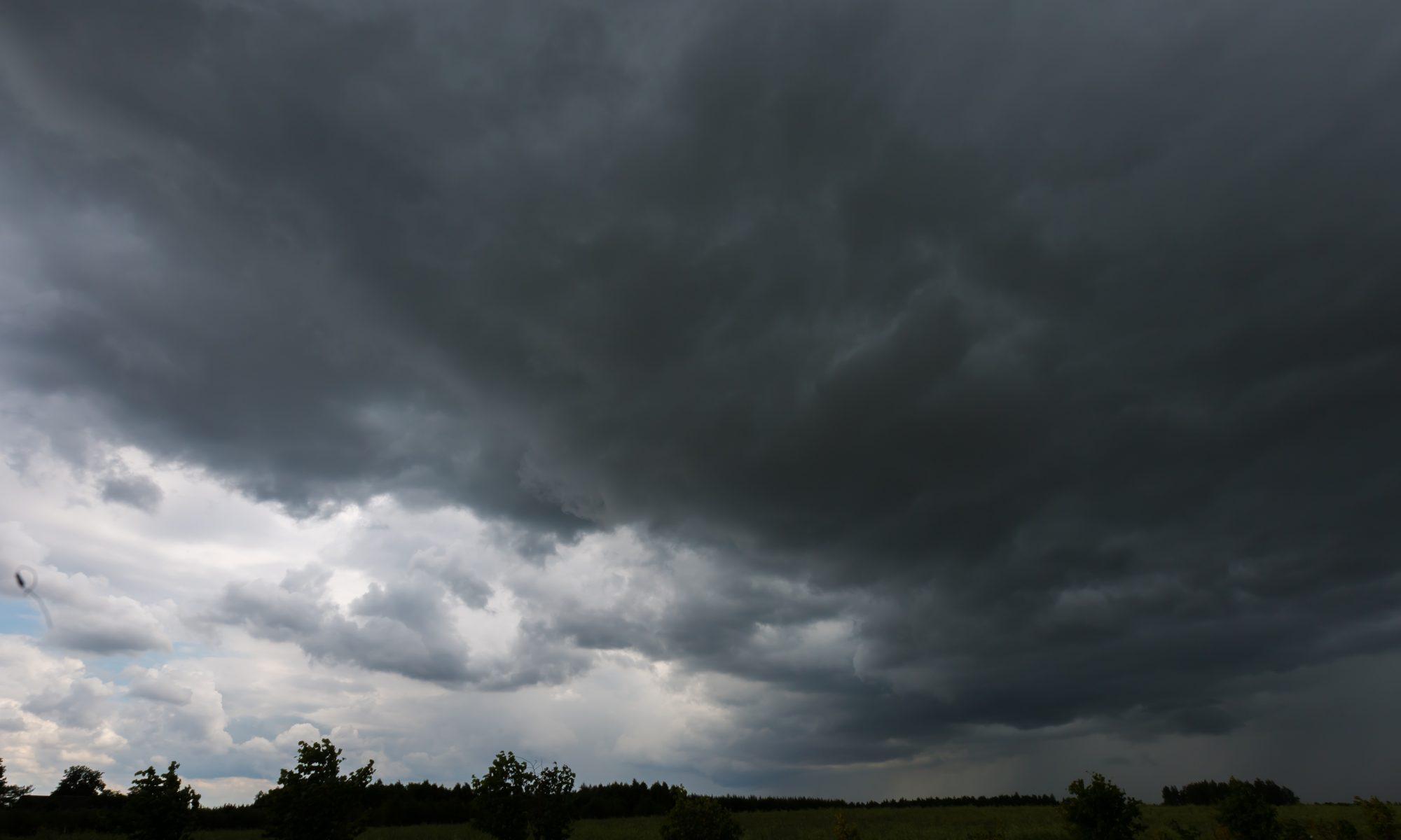 Storm sky over rye field